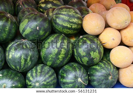 Galia melons, watermelons at the market in Turkey - stock photo