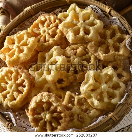 Galician carnival pastry - stock photo