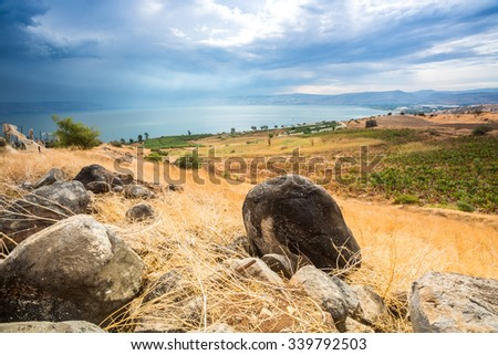 Galilee panorama taken from Mount of Beatitudes which is believed to be the one from where Jesus gave Sermon on the Mount - stock photo
