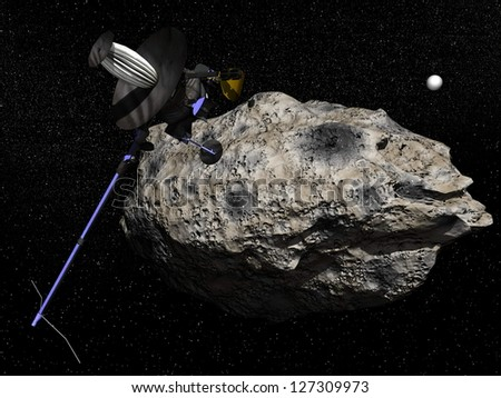 Galileo spacecraft discovering Dactyl orbiting the asteroid Ida in the universe in 1995. It was the first time a moon was discovered orbiting an astero���¯d - Elements of this image furnished by NASA - stock photo
