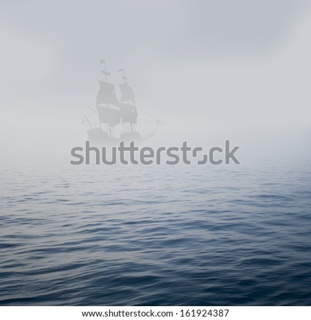 galleon in mist - stock photo