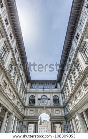 Galleria degli Uffizi (Uffizi Gallery) museum located in Florence, Italy - stock photo