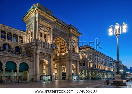 Galleria Vittorio Emanuele at night, luxury shopping mall in the center of Milan, Italy - stock photo