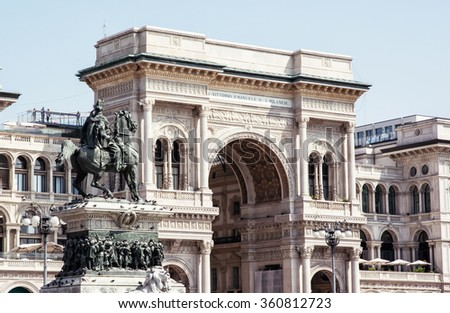 Galleria Vittorio Emanuele II with equestrian statue in Milan city, Italy, Europe. Architectural theme. - stock photo