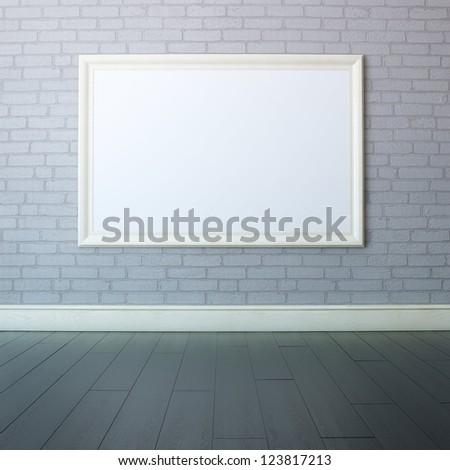Gallery Interior With Big Empty Frame - stock photo