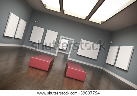 Gallery interior with blank canvases. 3D rendered image. - stock photo