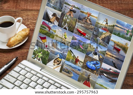 gallery of paddling pictures from Colorado featuring variety of boats and the same male model - reviewing images on a laptop - all screen pictures copyright be the photographer - stock photo