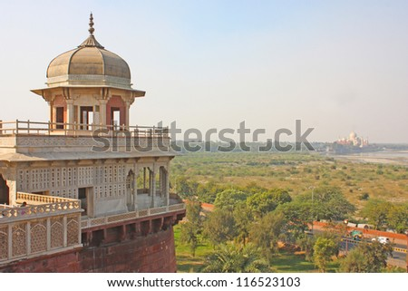 Gallery of pillars at Agra Fort. Agra, Uttar Pradesh, India - stock photo