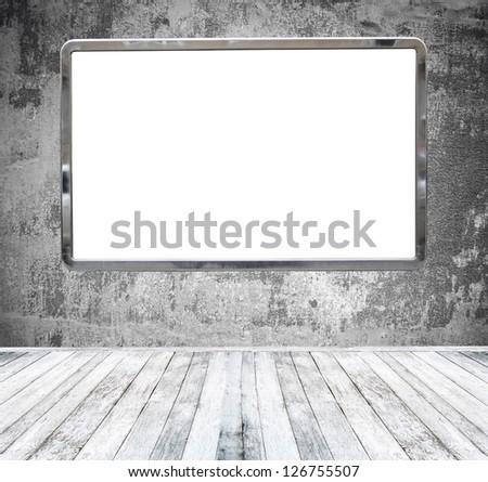 Gallery room with huge empty billboard - stock photo