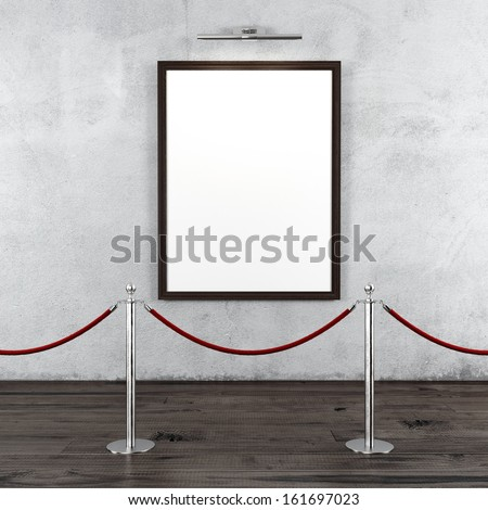 gallery with stand barriers and blank frame - stock photo