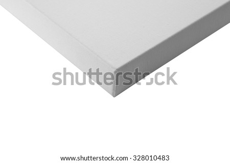 Gallery wrapped blank canvas on wooden frame detail - stretcher bar frames back side isolated on white - stock photo