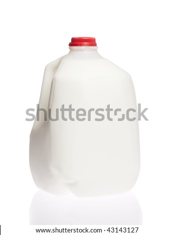 Gallon jug of cold cow milk on white isolated - stock photo