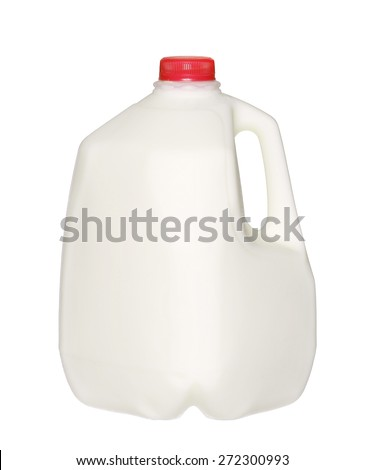 gallon Milk Bottle with Red Cap Isolated on White Background. - stock photo