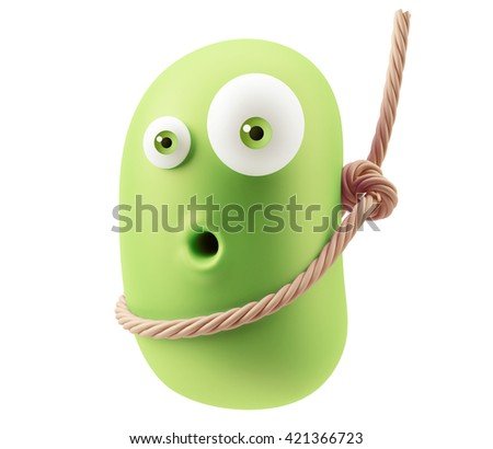Gallows Emoticon Character Face Expression. 3d Rendering. - stock photo