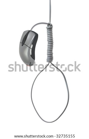 Gallows made of computer mouse isolated on white background - stock photo