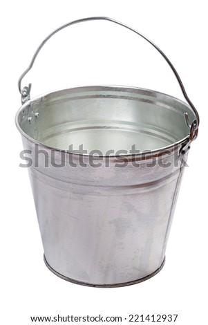 Galvanized metal bucket isolated on a white background - stock photo