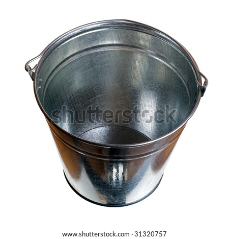 Galvanized steel bucket isolated on white background - stock photo