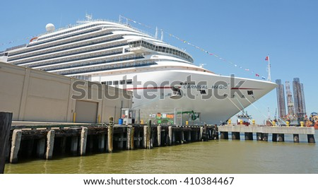 GALVESTON, TEXAS - APRIL 07, 2016: Carnival Magic, cruise ship at Galveston harbour, Texas, North America - stock photo