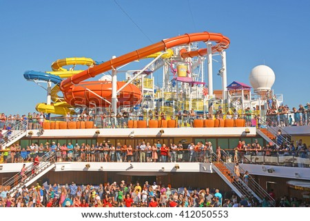 GALVESTON, TEXAS - APRIL 08, 2016: Slides in the water park at the Carnival Magic, cruise ship - stock photo