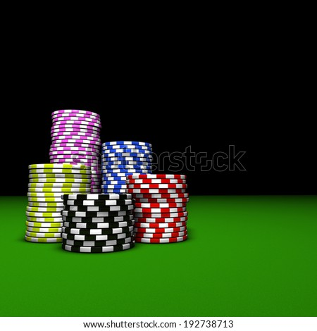 Gambling and casino entertainment concept and background with stacks of colorful poker chips on a green table 3d rendering. - stock photo