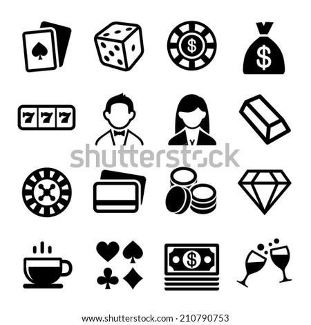 Gambling and Casino Icons Set.  Illustration - stock photo