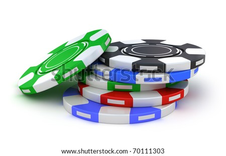 Gambling chips different colors isolated on white - stock photo