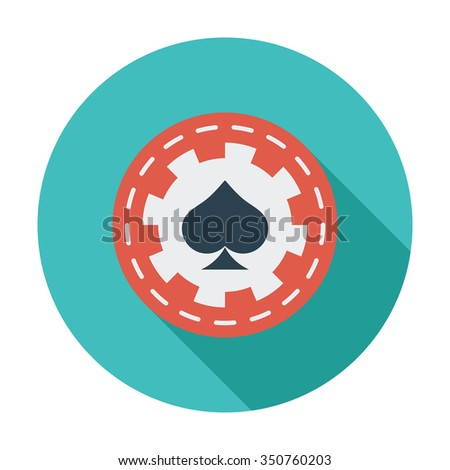 Gambling chips icon. Flat related icon with long shadow for web and mobile applications. It can be used as - logo, pictogram, icon, infographic element. Illustration. - stock photo