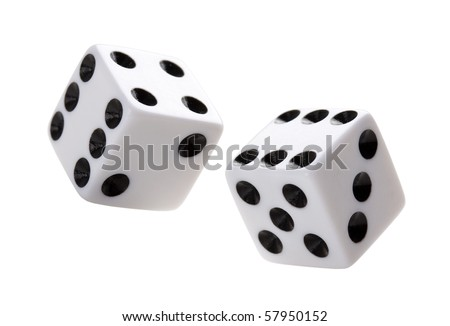 Gambling dices falling down against white background. - stock photo