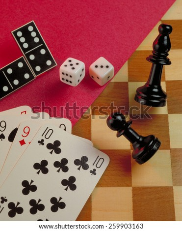 Gambling game background.Casino gambling background on a chess gaming table. - stock photo