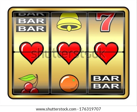 Gambling illustration, 3 hearts, concept success in love - stock photo