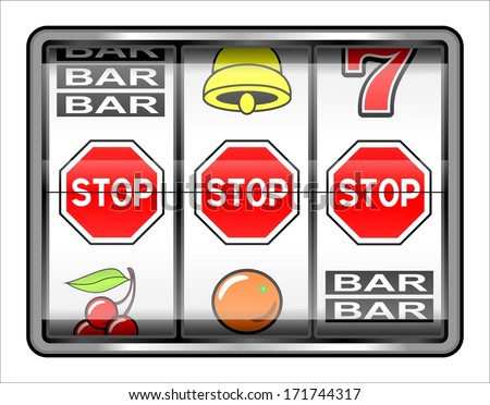 Gambling illustration. 3 warning stops, addiction concept - stock photo