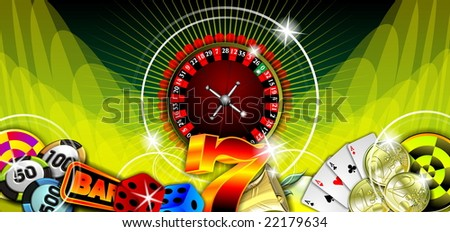 gambling illustration with casino elements on green background - stock photo