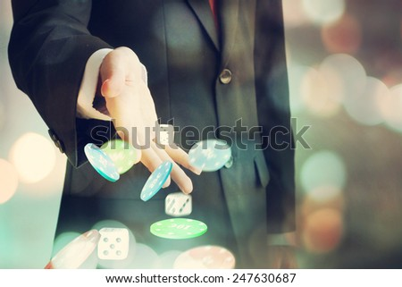 Gambling, male players - stock photo
