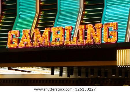 Gambling Sign in Lights. Gambling sign in lights and neon. Las Vegas, Nevada. - stock photo