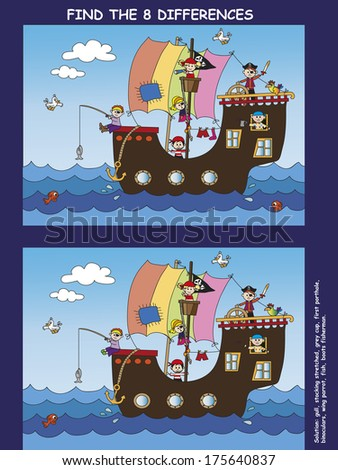 game for children: find the eight differences - stock photo