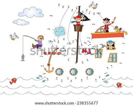 Game for children : join the dots following the numbers.  - stock photo