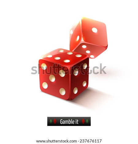 Game gamble casino dice set realistic isolated on white background  illustration - stock photo