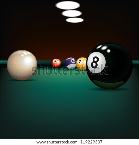 game illustration with billiard balls on green cloth - stock photo