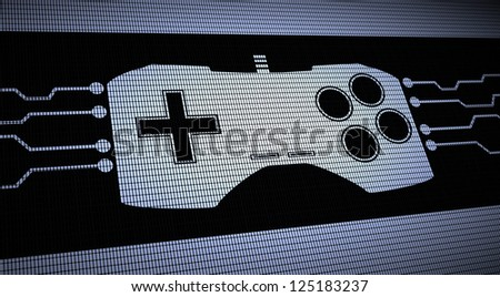 Game pad pixel screen concept - stock photo