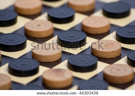 Game pieces on chess table - stock photo