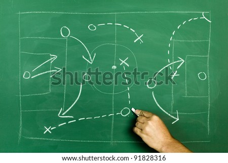 game plan and business strategy metaphor on green blackboard - stock photo