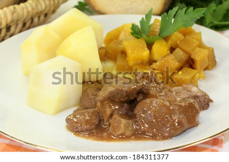 Game stew with turnips vegetables and potatoes - stock photo