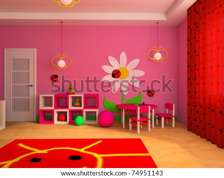 Game zone in a children's room 3d image - stock photo