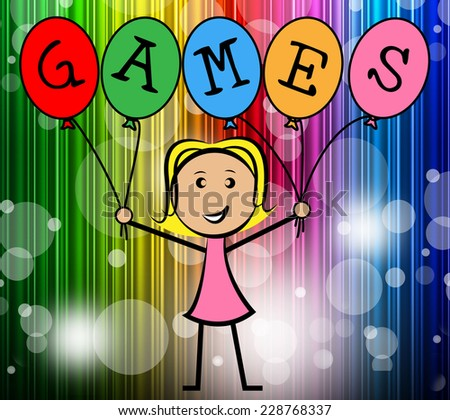 Games Balloons Indicating Young Woman And Entertainment - stock photo