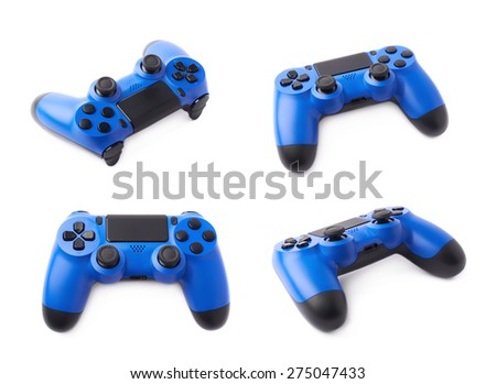 Gaming console blue plastic analog controller gamepad device isolated over the white background, set of four different foreshortenings - stock photo