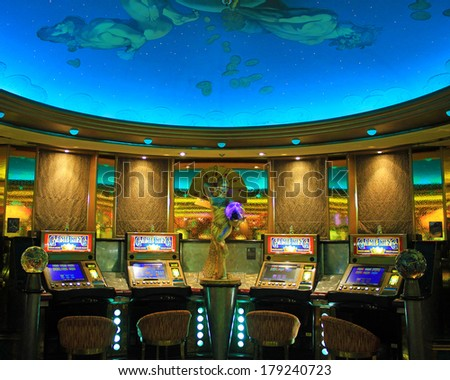 Gaming slot machines in American gambling casino  - stock photo