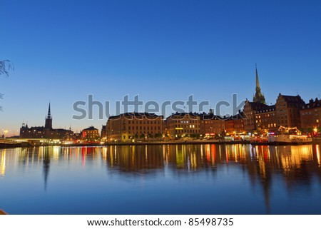 Gamla Stan,The Old Town in Stockholm, Sweden - stock photo