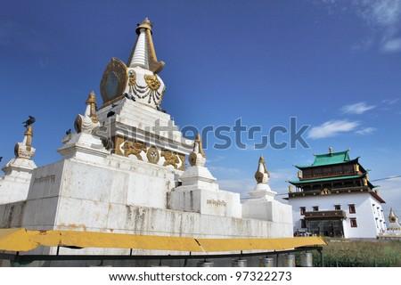 Gandan Monastery outside main temple - stock photo