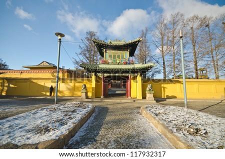 Gandan Monastery outside main temple in Ulan Bator, Mongolia - stock photo
