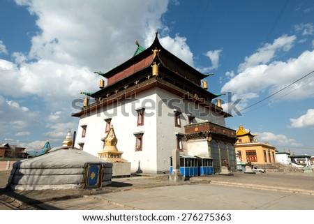 Gandantegchinlen Monastery, in Ulaanbaatar, Mongolia. - stock photo